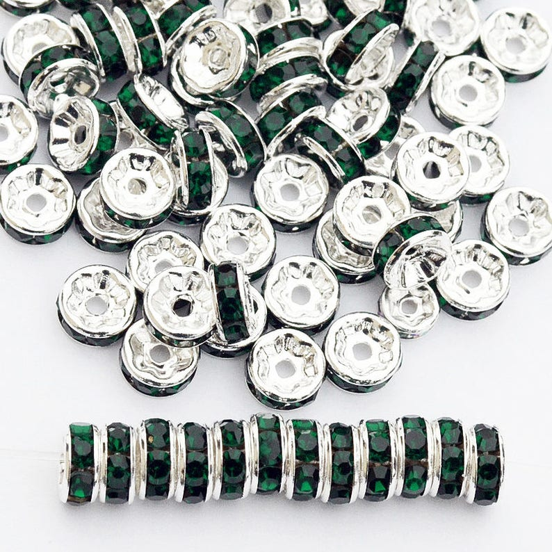 100pcs Czech Crystal Rhinestone Silver Rondelle Spacer Beads 4mm 6mm 8mm 10mm