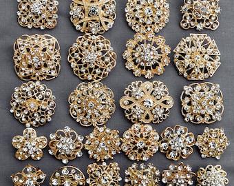 24 Gold Rhinestone Brooch Crystal Brooch FREE Shipping of 20.00 Order Wedding Brooch Bouquet Cake Decoration DIY Kit BR680