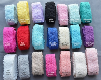 """5 Yards Elastic Lace 1"""" Stretch Lace for Making Cotton Masks Face Covering Cloth Stretch Lace Trim Headband Bridal Garter EL997"""