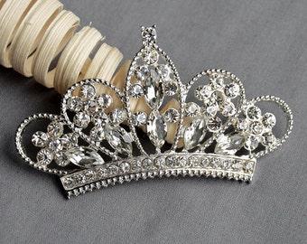 3 Rhinestone Button Embellishment FREE Shipping of 20.00 Order Crystal Tiara Crown Bridal Wedding Brooch Hair Comb Pin BT550