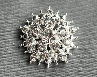 3 Rhinestone Button Embellishment FREE Shipping of 20.00 Order Pearl Crystal Wedding Brooch Bouquet Hair Comb Shoe Pin BT060