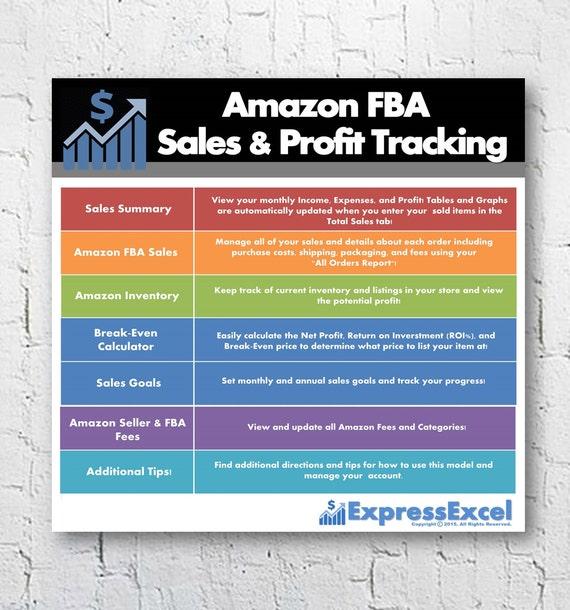 Amazon FBA Seller Sales & Profit + Break Even Calculator   Excel  Spreadsheet   Fulfillment by Amazon   US UK Euro Canada   Instant Download