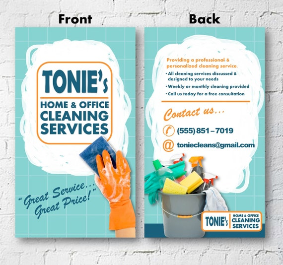 Cleaning Business Advertisement Business Card 2x3 Flyer Etsy