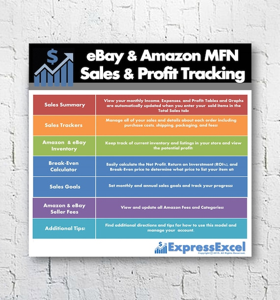 Ebay Amazon Mfn Sales Profit Tracking Break Even Calculator Microsoft Excel Spreadsheet Mac Pc Instant Download