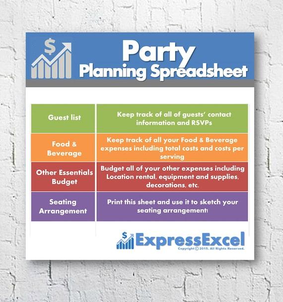 Partei der Planung Excel-Tabelle-Vorlage Essen & Trinken | Etsy