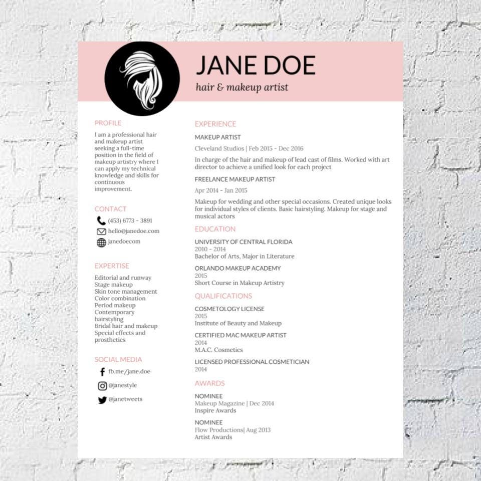hair stylist makeup artist resume template google document