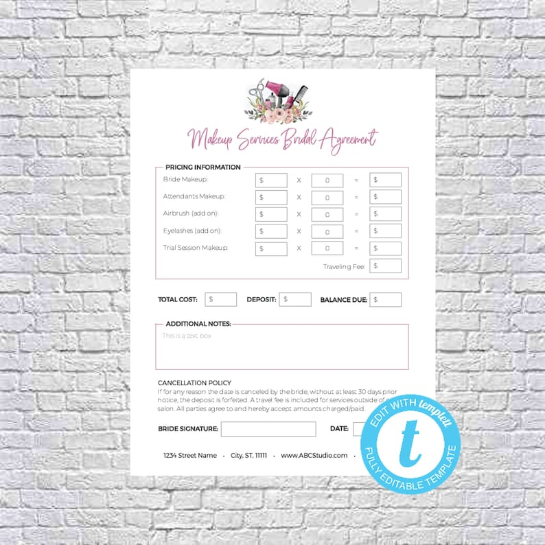 Makeup Artist Bridal Or Event Agreement Contract Template Etsy