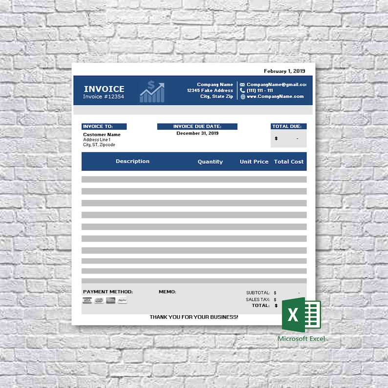 Business Invoice Template Excel Spreadsheet Custom Printable Mac Pc Instant Download