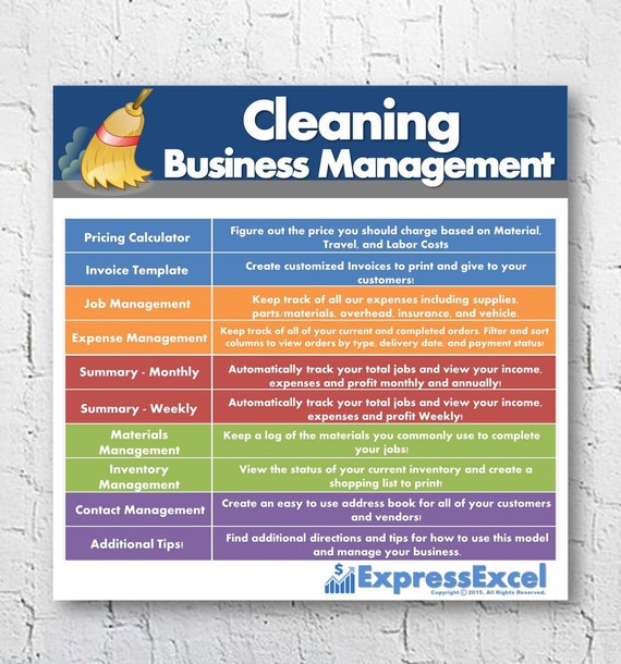 cleaning business management software job pricing calculator etsy