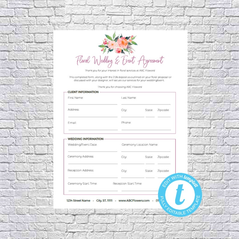 Floral Shop Bridal Or Event Agreement Contract Template Editable Printable Templett 8 5x11 Mac Pc Instant Download