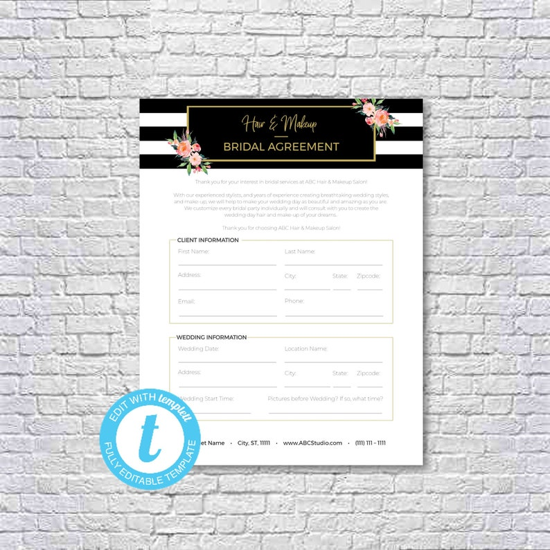 Hair Stylist Makeup Artist Bridal Or Event Agreement Contract Template Templett Editable Printable 8 5x11 Instant Download
