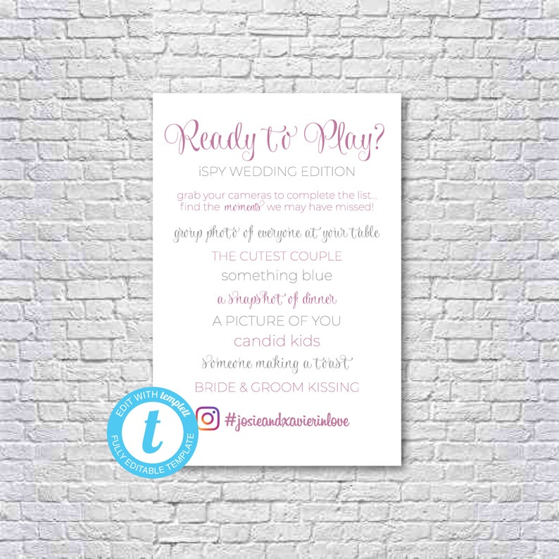 iSpy Wedding Table Game Signs | Instagram #Hashtag | Ready to Play? |  Instant Download | Editable & Printable | 4X6 | Templett
