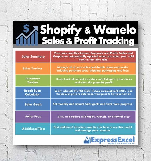 shopify sales profit tracking break even calculator etsy