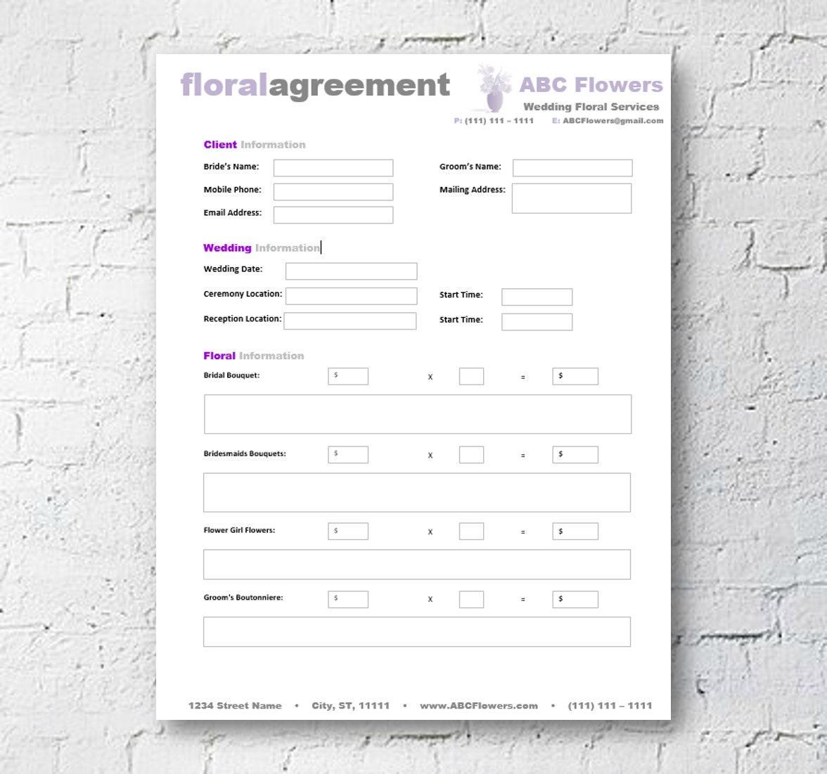 Blumen Shop Braut Vertragsvorlage Editierbare druckbare | Etsy