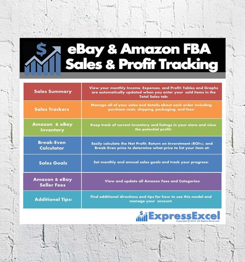 Ebay Amazon Fba Seller Sales Profit Google Spreadsheet Etsy