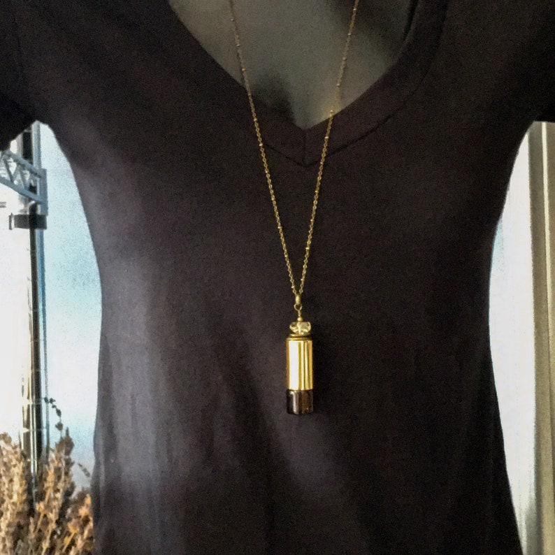 Gold bottle necklace. Citrine necklace Aromatherapy Rollerball necklace Essential oil jewelry Diffuser necklace