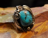 Heavy Mens .925 Silver Ring Bisbee Copper Mine Turquoise - 0095
