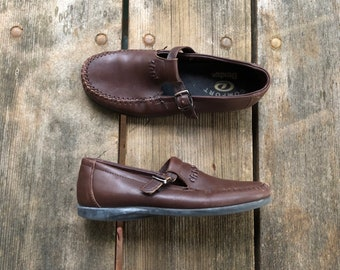 f89092229726e Size 7 Vtg Dexter Brown Leather Buckle Moccasins Loafers Women s Vintage  Shoes