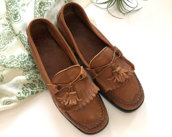 8313bb80bbd Size 8.5 Vtg Dexter Brown Leather Loafers Moccasins Women s Vintage Shoes 8  1 2