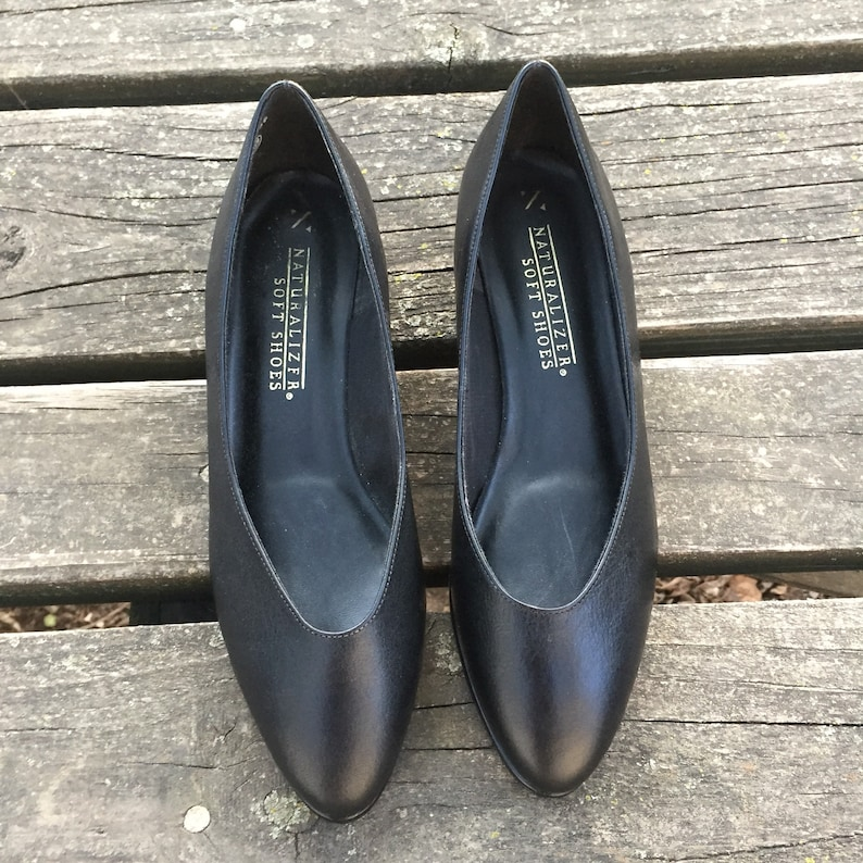 fae7e3ccc850e Size 7.5 W Naturalizer Black Leather Wedges Wedge Heel Women's Vintage  Deadstock Shoes 7 1/2 Wide Width