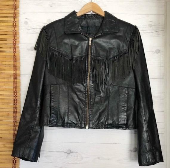 Vintage Berman's Leather Fringe Moto Jacket Black