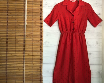 Vintage - Shirt Blouson Dress Short Sleeve Knee Length Button Down Collar Small Red BlackWomen's Vtg Clothes JC Penney