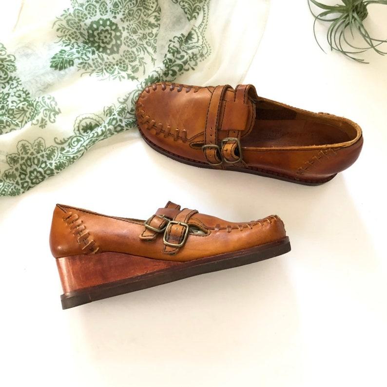 3b7553fea7559 Size 7.5 N Vintage Deadstock Buskens Wooden Wedge Heel Leather Shoe 7 1/2  Narrow