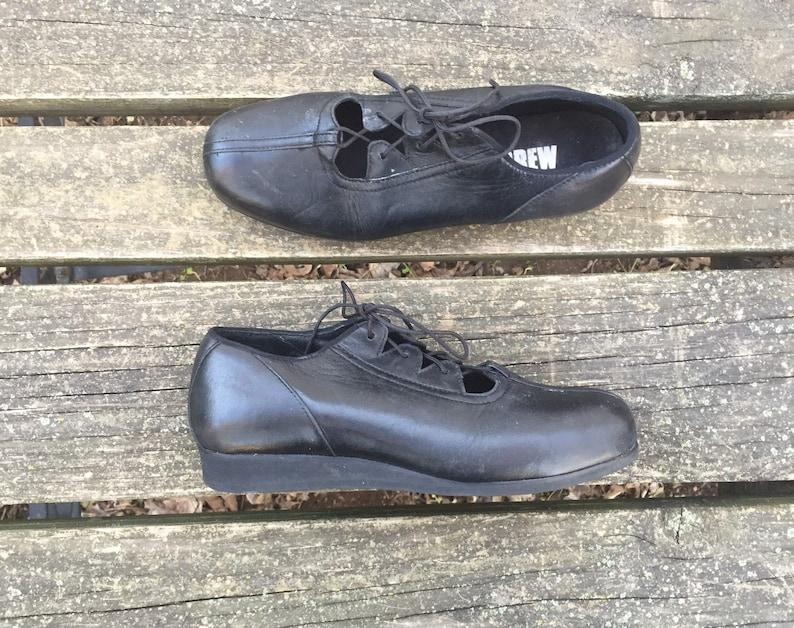3c0a2e2c62548 Size 7.5 Black Tie Wedge Leather Drew Women's Vintage Shoes 7 1/2