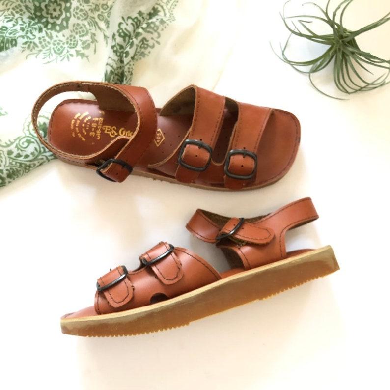561134028a953 Size 7.5 Vintage ES Originals Leather Sandals Buckle Deadstock Womens Vtg  Sandals 7 1/2