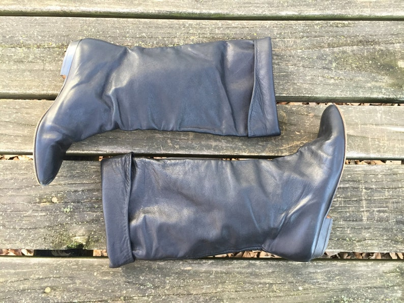 Size 6.5 Black Leather Pirate Flat Folded Tall Mid calf Slouch Boots Made in Italy Women/'s Vintage Boots 6 12