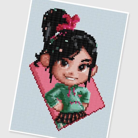 Pdf Cross Stitch Pattern 0011vanellope Wreck It Ralph Etsy
