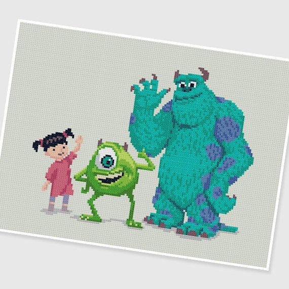 Pdf Cross Stitch Pattern Monsters Inc Instant Download Etsy
