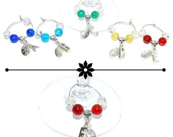 Customisable wine glass marker charm, choose your own colour and initial, birthday anniversary Valentines Christmas Mothers Day gift