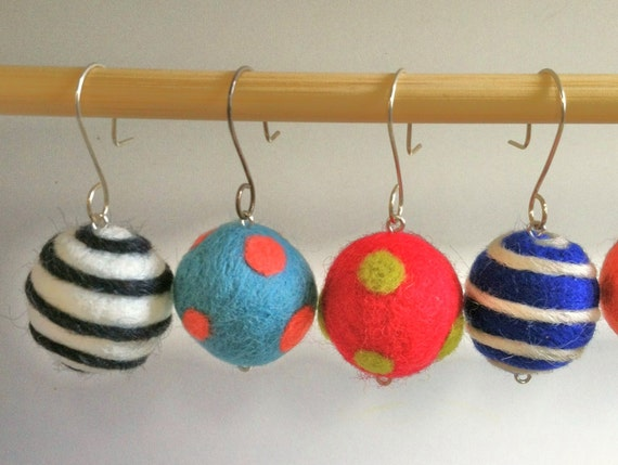 Felted Ball Earrings Sterling Silver French Hooks Wool Balls Needle Felted Wool Wet Felted