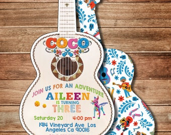 Coco invitations etsy coco disney miguel guitar invitation birthday invitation heavy cardstock or digital filmwisefo