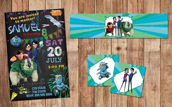 Trollhunters Invitation Birthday Heavy Cardstock