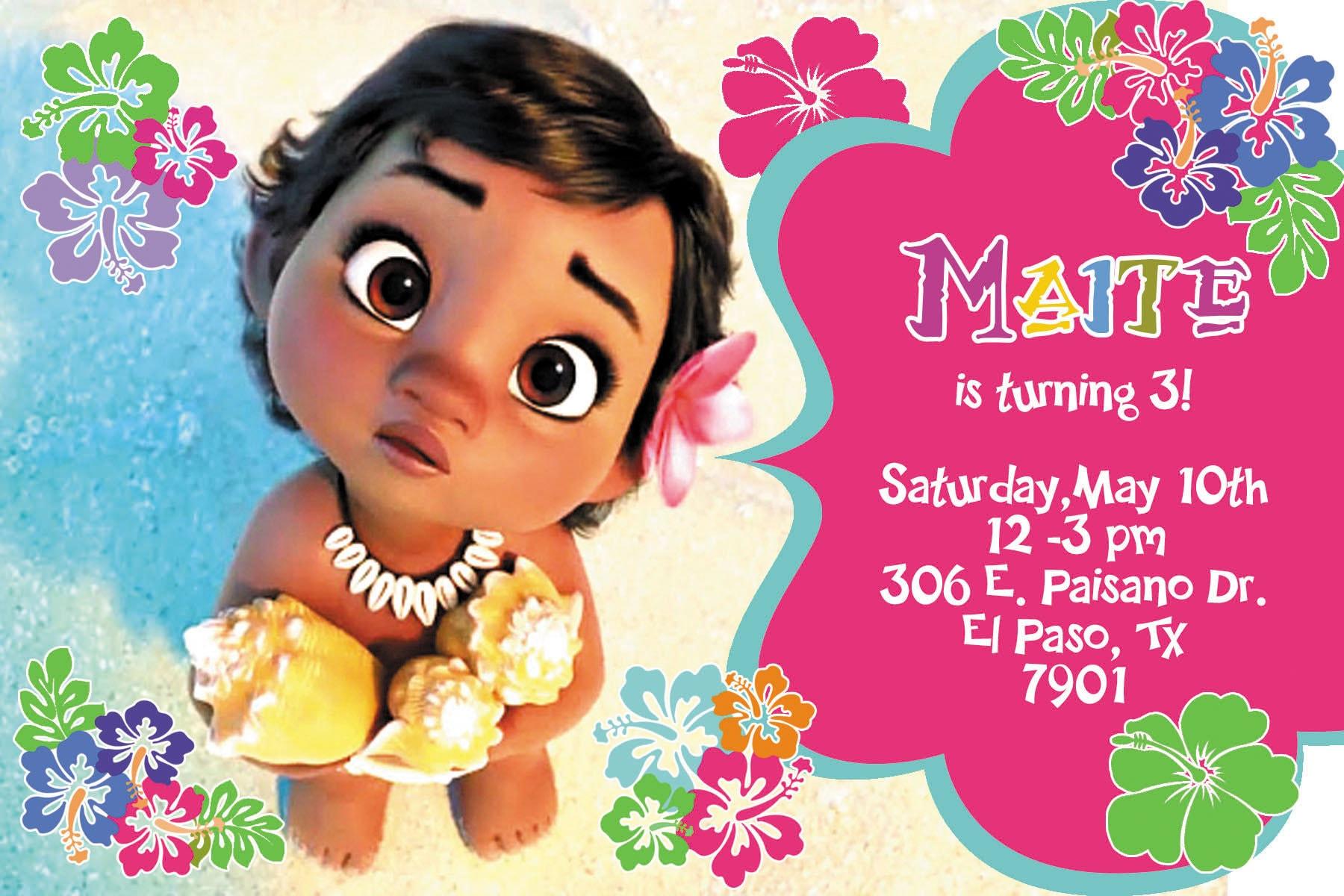 18 personalisierte Baby Moana Einladung gedruckt und