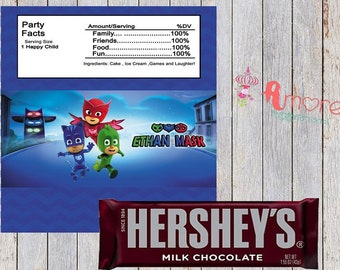 digital pj mask hersheys wrapper 8.5 x 11 inches 2 per sheet  favor treat party supplies, decoration birthday