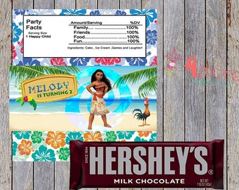 digital moana hersheys wrapper 8.5 x 11 inches 2 per sheet  favor treat party supplies, decoration birthday
