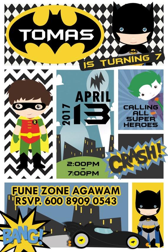 18 Batman I Robin Zaproszenie Tagi Etykiety Party Urodziny Etsy