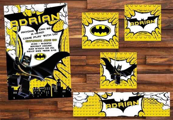 18 Batman Zaproszenie Również Tagi Etykieta Party Urodziny Etsy