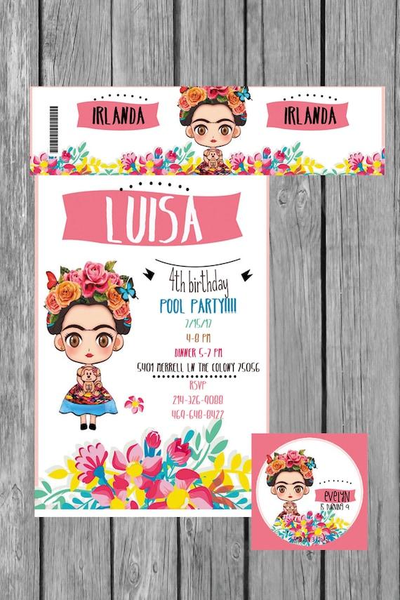 Frida Khalo Invitation Birthday Heavy Cardstock Or