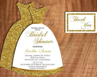 bridal shower bridal dress  invitation, front, back and thank u card