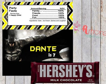 digital batman hersheys wrapper 8.5 x 11 inches 2 per sheet  favor treat party supplies, decoration birthday