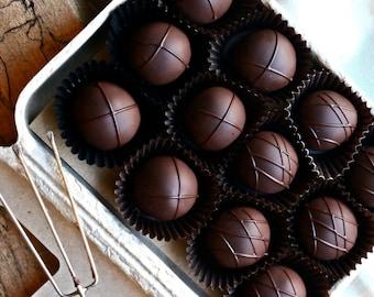 12 Piece Truffle Box (Organic, Fair Trade, Dark Chocolate, Soy free, Holiday, Vermont, New England, Handmade, Gift, Treat)