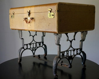Vintage Suitcase Coffee Table with Antique Sewing Machine Legs d22322dd6b91c