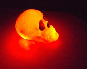 Lighted Plastic glowing Skull battery powered Halloween decoration led lights, blue, red, white,yellow. spooky!