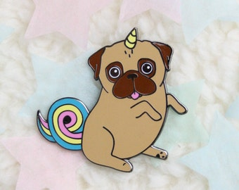 Pug Pin | Unipug Pin | Unicorn Pug Brooch | Hard Enamel Pin | Pug Gift | Gift for Puglover | Valentines Gift | Unicorn Gift | Nais Products