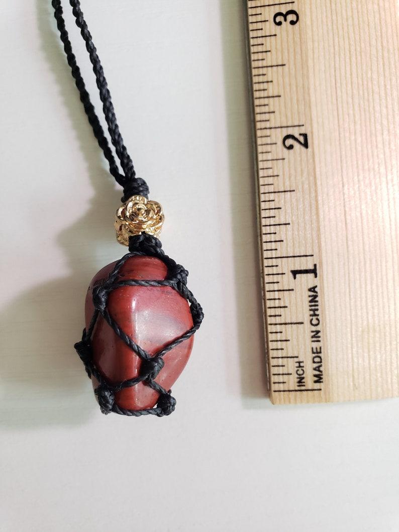 Jasper Red Dragon Gold Rose Macrame Boho Necklace