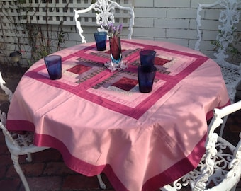 Pretty vintage patchwork tablecloth/ picnic rug or throw.  Square shape.  Light, cotton material.
